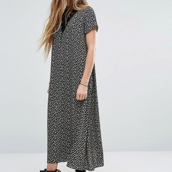 Reclaimed Vintage High Neck Midi Dress With Lace Insert In Ditsy Floral at asos.com