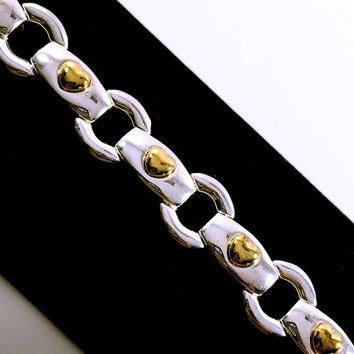 Ecclissi Sterling Silver and Gold Tone Link Bracelet, Eclisse, Silver and Gold Tone, Gold Hearts, Hearts, Chain Link, Vintage Jewelry