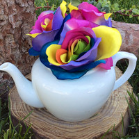 Alice in Wonderland Tea Party Decorations Tea Pot Centerpiece Mad Hatters Birthday Wonderland Roses