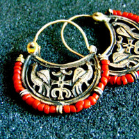 Beautiful women's dangle arrings-Silver and coral bird earrings-Byzantine dangle earrings-Ancient greek bird earrings-Artisan jewelry-