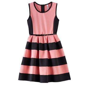 Knitworks Striped Skater Dress with Belt - Girls 7-16 & Girls'