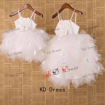 On Sale Straps Ivory Lace Tulle Full Skirt Flower Girl Dress Toddler Birthday Party Dress with Bow/Flower