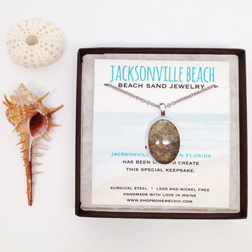 Jacksonville Beach Sand Pendant Beach Sand Jewelry One of a Kind OOAK Florida Beach Vacation Memory Special Keepsake Gifts for Her