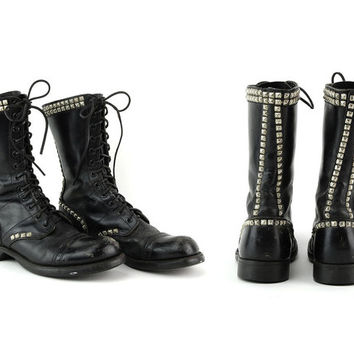 Vintage Black Leather Worn In Studded Corcoran Combat Boots / Size US 8.5 EU 38.5