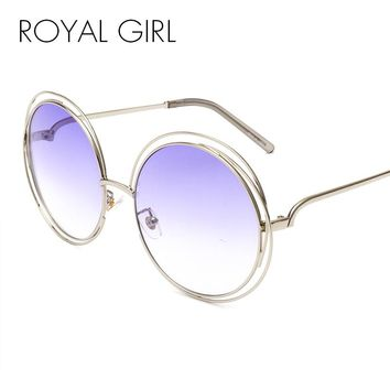 ROYAL GIRL Pretty Quality Women Brand Designer Sunglasses Oversize Unique Round Wire Sun Glasses Gradient Eyeglasses Shade ss652