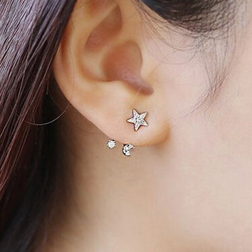 Women Crystal Leaf Ear Stud Earring Gift-10