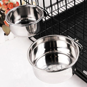Silvery Firm Pet Cage Hang Bowl