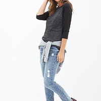 FOREVER 21 Mid Rise - Distressed Skinny Jeans