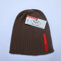 Prada Hiphop Women Men Beanies Winter Knit Hat Cap-1