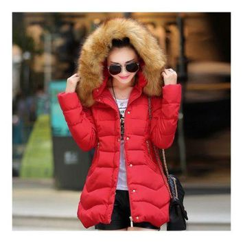 Woman Middle Long Slim Cotton Coat   red