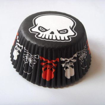 Free Shipping 100pcs Black Halloween Skull Paper Cake Cup Liners Baking Cup Muffin Kitchen Cupcake Cases for birthday