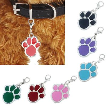 1 pcs hot sale 6 colors Footprints shape Rhinestone dog collar Pendant   Puppy  Lovely Pet Jewelry mascotas cachorro perros