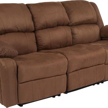 Harmony Series Chocolate Brown Microfiber Sofa with Two Built-In Recliners [BT-70597-SOF-BN-MIC-GG]