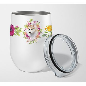 Red Siberian Husky Pink Flowers Stainless Steel 12 oz Stemless Wine Glass CK4148TBL12