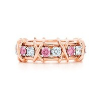 Tiffany & Co. -  Schlumberger Sixteen Stone Ring in 18k rose gold with Fancy Vivid Pink diamonds.