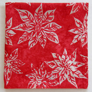 "Poinsettia Pocket Square, Red Handkerchief, 14.5"" Red Hanky, Holiday Hankies, Festive Red Hanky, Red Hankies, Red Batik Pocket Square"