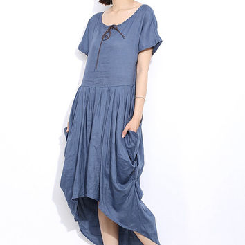 Maxi linen dress  in blue