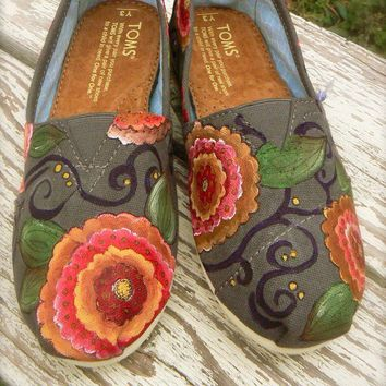 Custom hand painted TOMS bohemian floral by solereflections