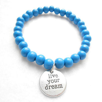 Blue Mens Beaded Bracelet - Live Your Dream Bracelets - Mens Wooden Beaded Jewelry - Gift For Boyfriend - Graduation Gifts