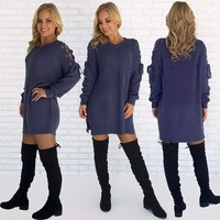 Comfort Me Sweater Top in Indigo