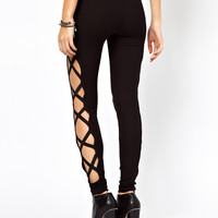 ASOS Leggings with Criss Cross Side Panel