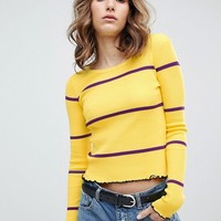 E.L.K Jumper With Crinkle Hem In Fine Stripe at asos.com