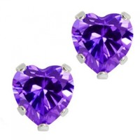 3.00 Ct 925 Sterling Silver Purple Amethyst CZ Heart Shape Stud Earrings 6MM