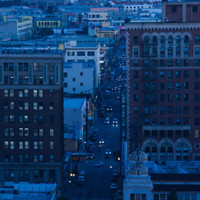 Cityscape at Dusk, Los Angeles, California, USA Photographic Print at Art.com