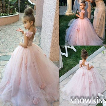 Ball Pageant 2016 Puffy Pink Flowers by hand Flower Girl Dress for Wedding First Communion Dresses for Girls Kids Prom dresses