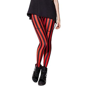 Women's White & Black Striped Slim Fit Spandex Fashion Leggings