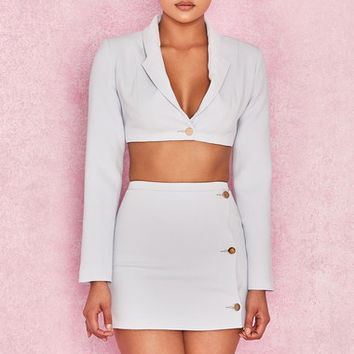 Clothing : 2 Pieces : 'Rania' Light Blue Jacket & Skirt Two Piece