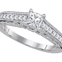 Diamond Bridal Ring with 0.40ct Center Princess Stone in 14k White Gold 0.68 ctw