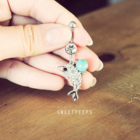 Belly Button Piercing, Rhinestone piercing, Turquoise Belly Button