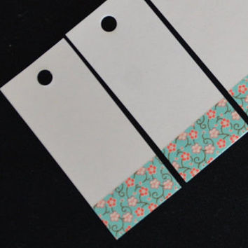 Gift tags - Blue with small red flower design - washi tape decorated - white gift tags - favor tags - gift wrapping