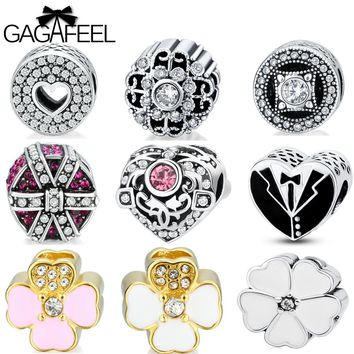 GAGAFEEL Love Beads Fit For Pandora Bracelet DIY Lovely Heart Flower Bead Women Jewelry Loose Ball Charm Necklaces Chain Gifts