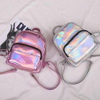 Holo Mini Backpack - Women Leather Backpack Shoulder Bag Travel Handbag School Bag Rucksack Mini Bag
