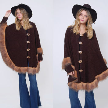 Vintage 90s Poncho Mocha Knit Poncho with FAUX FUR Trim BOUCLE Knit Poncho Boho Sweater Cape
