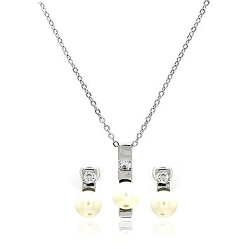 Rhodium Plated Brass Pearl Elongated Center Clear Cubic Zirconia Stud Earring & Necklace Set: SOD