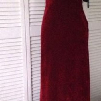 NEW Nicole Miller Crimson Red Velour Leopard Dress/Gown (Size 2) - MSRP $355.00!