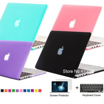 Matte Rubberized Frosted Case Laptop Shell For Apple Macbook Air 13.3 A1369 A1466,Pro 13.3 A1278 Keyboard Cover+Screen Protector