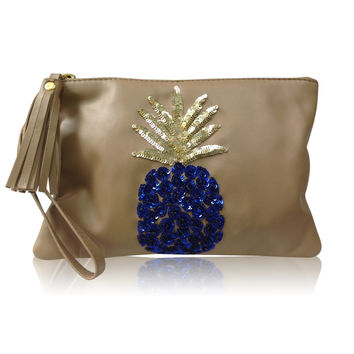 Leather Clutch Pineapple Neutral