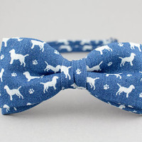 Blue Bow Tie with Dog Mens Bow Tie Denim Bow Tie Dog Lover Bow Tie for Men Jeans Bow Tie Gift for Men Bow Tie with Animals Bartek Design