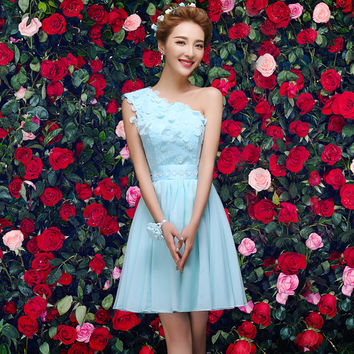 2017 new fashion cute prom dresses short for women blue off shoulder chiffon a line elegant sexy gowns with appliques lace
