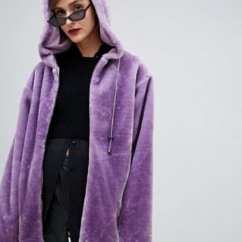 Story Of Lola Oversized Zip Front Hooded Jacket In Faux Fur at asos.com