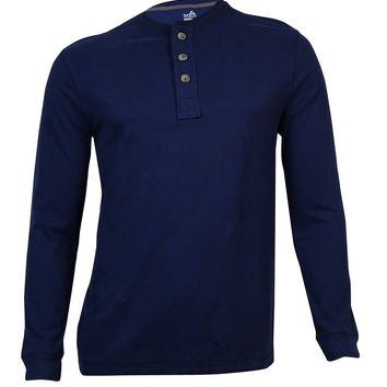 John Ashford Men's Long-Sleeve Henley Shirt (Navy Blue, L)