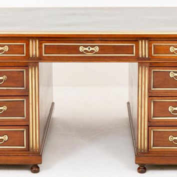 Canonbury - Antique French Empire Mahogany Partners Desk Writing Table