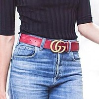 GUCCI Fashionable Women Men Double G Smooth Buckle Leather Belt Red