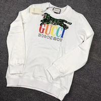 """""""Gucci"""" Lover Unisex  Fashion Casual Round Neck Long-Sleeved Printed Tops"""