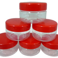 Sunpet 50 ml Red Top Plastic Food Storage Jars Canisters (6 Pack) - In The Kitchen   Popat Store