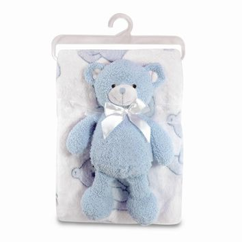 Blue Plush Bear & Coral Fleece Baby Blanket